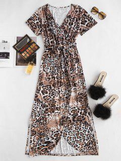Leopard High Slit Belted Maxi Surplice Dress - Coffee L