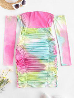 Mini Abito Increspato Di Tie-Dye Con Spalle Scoperte - Multi Colori L