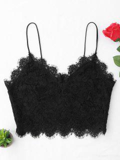 ZAFUL Plus Size Scalloped Eyelash Lace Longline Bralette - Black L