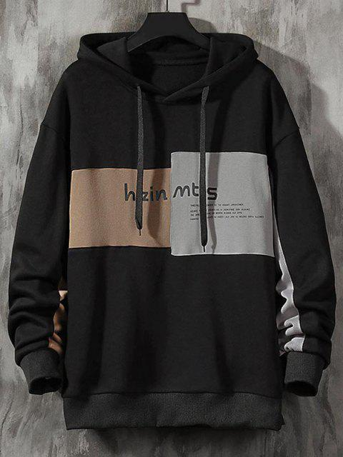 latest Colorblock Letter Patch Drawstring Hoodie - BLACK S Mobile