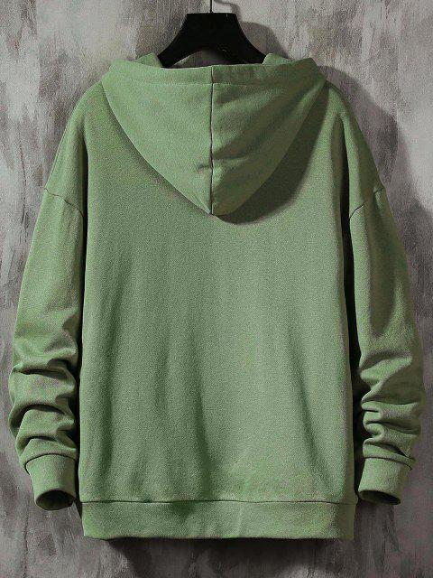 outfit Colorblock Letter Patch Drawstring Hoodie - GREEN L Mobile