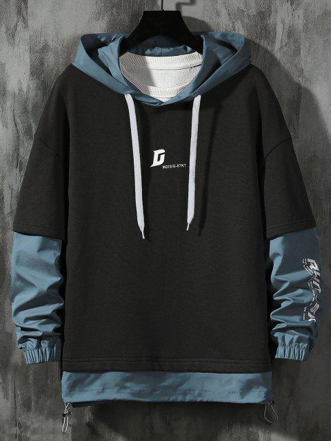 outfits Letter Print Faux Twinset Hoodie - BLACK M Mobile