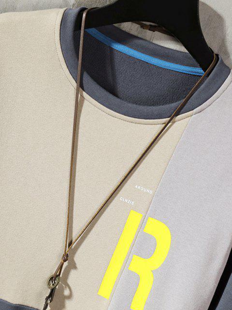 fancy Color Blocking Panel Letter Sweatshirt - LIGHT GRAY XL Mobile