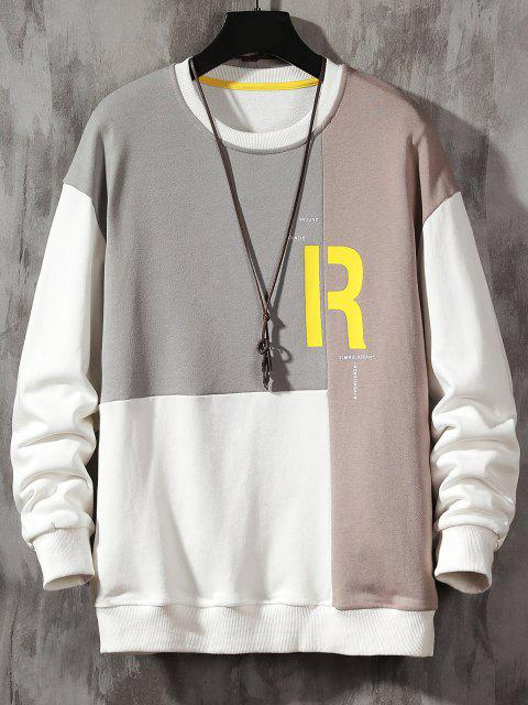 buy Color Blocking Panel Letter Sweatshirt - BLANCHED ALMOND M Mobile