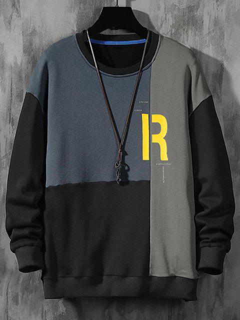 affordable Color Blocking Panel Letter Sweatshirt - MIST BLUE XL Mobile