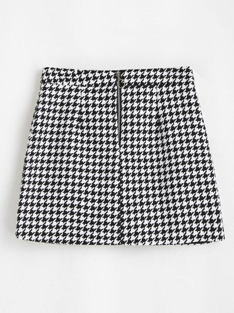 outfit Houndstooth Zip Front Tweed Skirt - BLACK M Mobile
