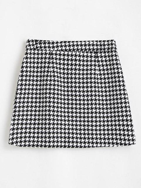 latest Houndstooth Zip Front Tweed Skirt - BLACK S Mobile