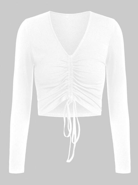 outfit ZAFUL Ribbed Cinched Fitted Plunging T-shirt - WHITE M Mobile