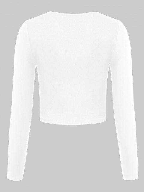 womens ZAFUL Ribbed Cinched Fitted Plunging T-shirt - WHITE L Mobile