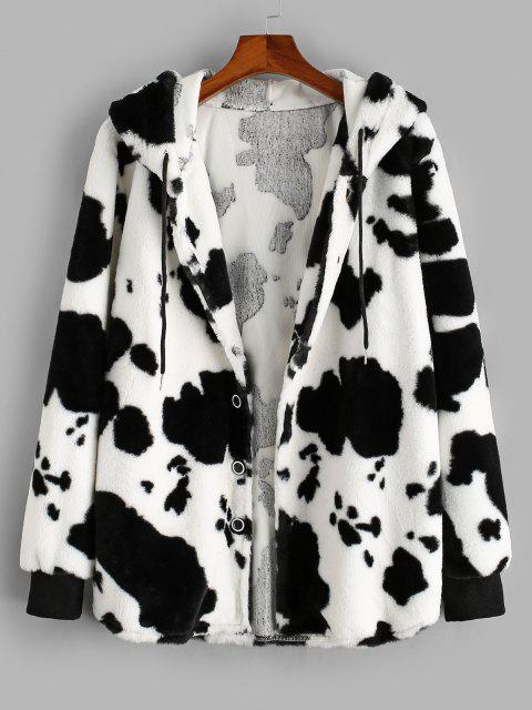womens ZAFUL Hooded Cow Pattern Fluffy Jacket - WHITE M Mobile
