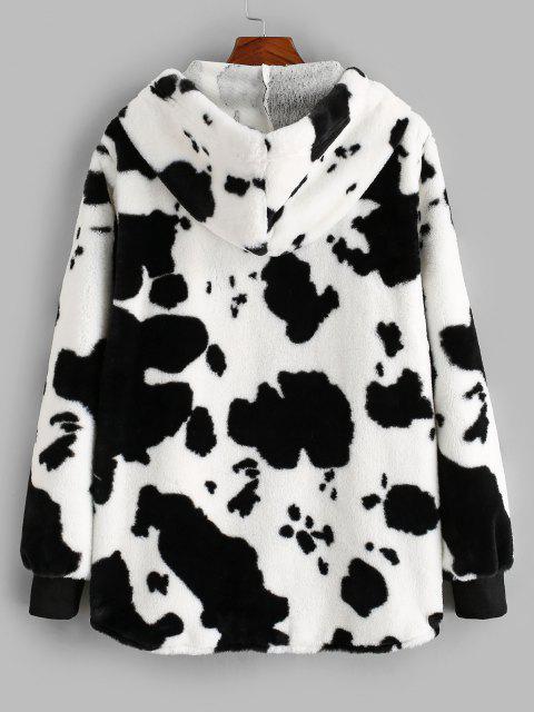 ZAFUL Veste à Capuche Fourrée Motif de Vache - Blanc S Mobile