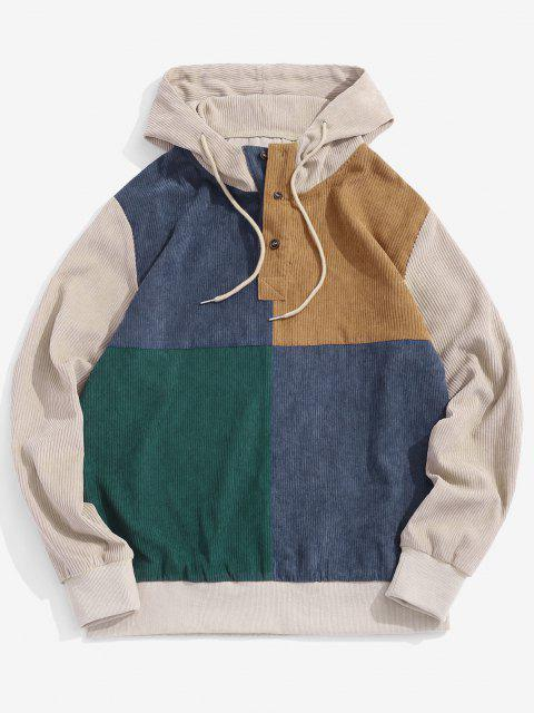 buy Colorblock Patchwork Half Button Corduroy Hoodie - LIGHT COFFEE 2XL Mobile