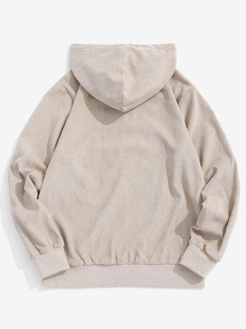 ladies Colorblock Patchwork Half Button Corduroy Hoodie - LIGHT COFFEE S Mobile