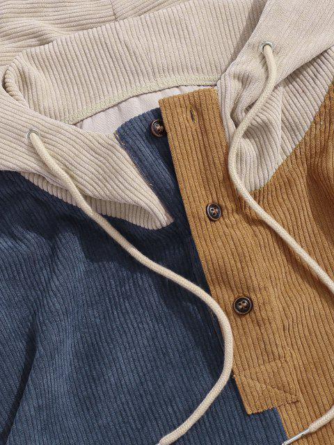 outfit Colorblock Patchwork Half Button Corduroy Hoodie - LIGHT COFFEE XL Mobile