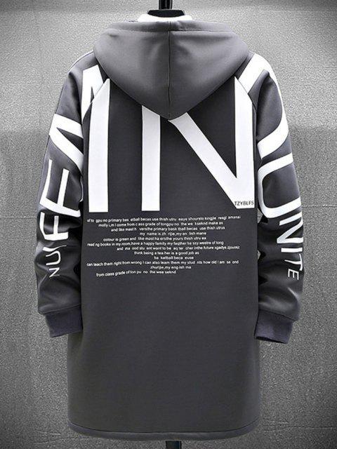 women Zip Up Slogan Graphic Fleece Lined Hoodie Coat - GRAY XL Mobile