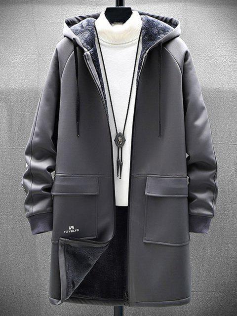 new Zip Up Slogan Graphic Fleece Lined Hoodie Coat - GRAY L Mobile