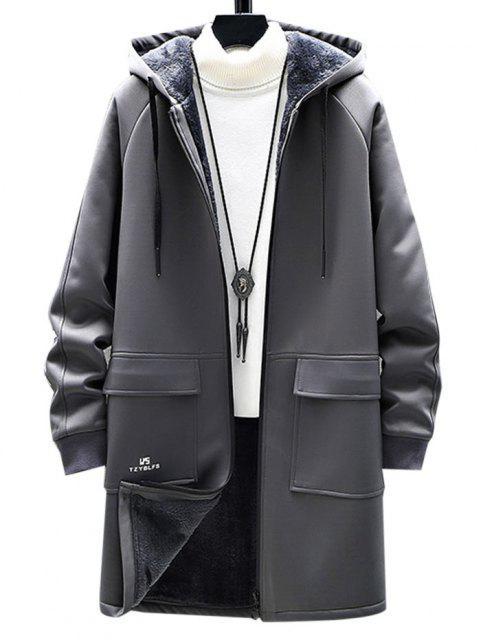 fancy Zip Up Slogan Graphic Fleece Lined Hoodie Coat - GRAY S Mobile