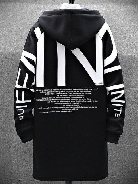 Manteau à Capuche Slogan Graphique Zippé à Doublure en Laine - Noir S Mobile