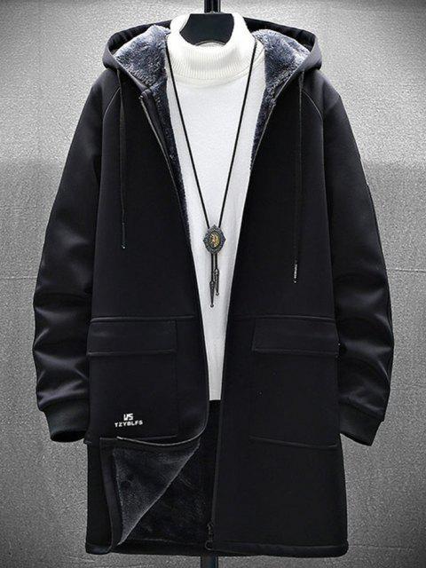Manteau à Capuche Slogan Graphique Zippé à Doublure en Laine - Noir XL Mobile