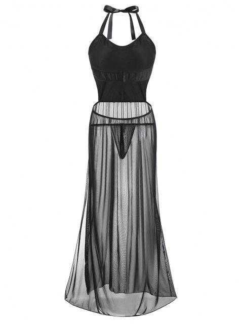 Vestido Interior con Malla Escotada en Espalda - Negro 1XL Mobile