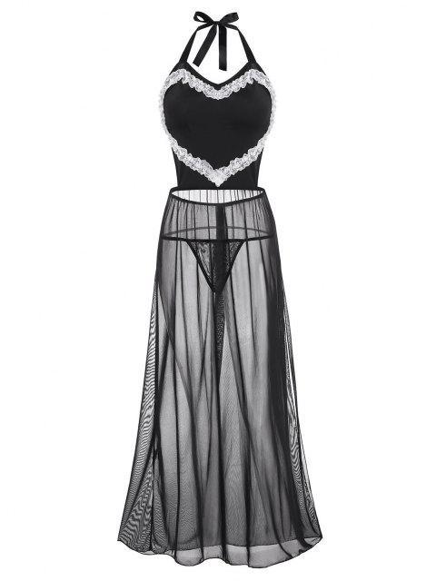 Gebundenes Schlitz Maschen Spitzenbesatz Übergröße Dessous Kleid - Schwarz 4XL Mobile