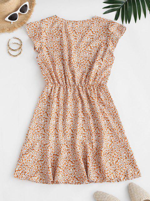 affordable Ditsy Print Flounce A Line Dress - DEEP YELLOW M Mobile