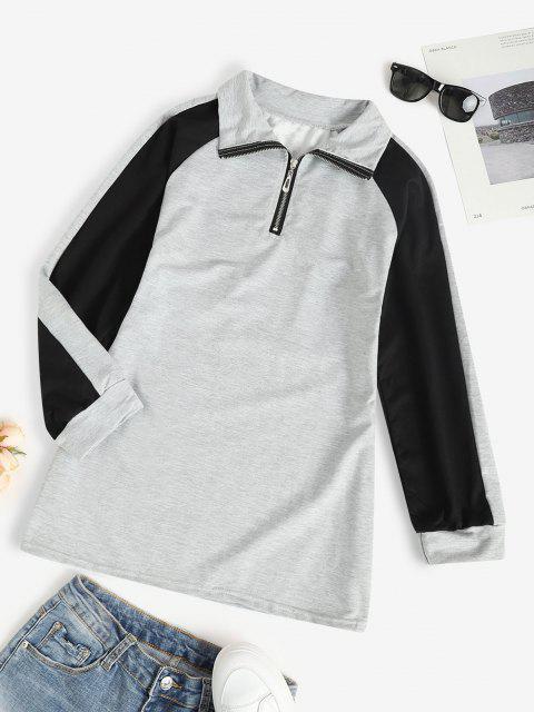 Zip Front Raglan Sleeve Tunic Sweatshirt Dress - اللون الرمادي S Mobile