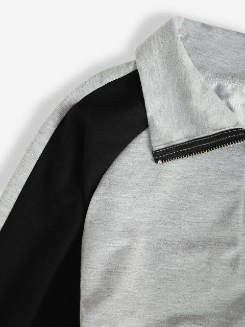 new Zip Front Raglan Sleeve Tunic Sweatshirt Dress - GRAY S Mobile