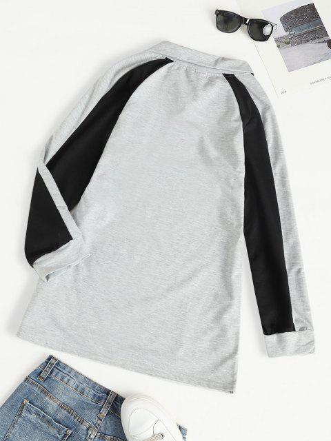 Robe Sweat-shirt Tunique Zip en Avant à Manches Raglan - Gris M Mobile