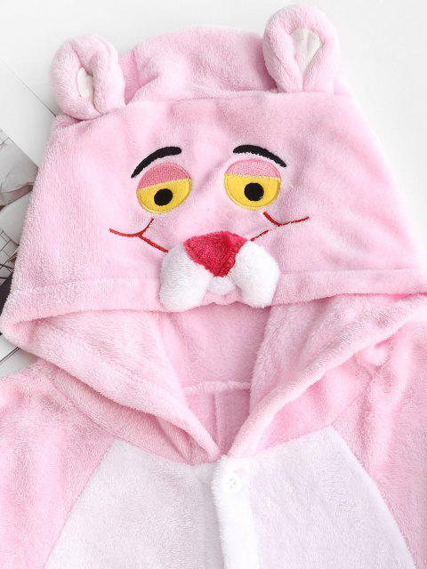 shop 3D Ear Hooded Tiger Embroidered Sleep Plush Onesie - LIGHT PINK S Mobile