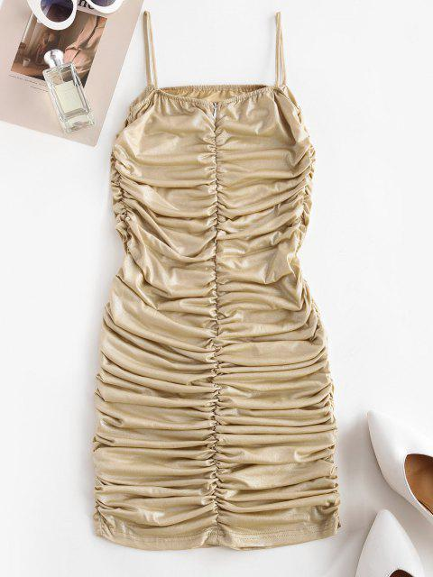 affordable Ruched Sheeny Bodycon Cami Dress - DEEP YELLOW L Mobile