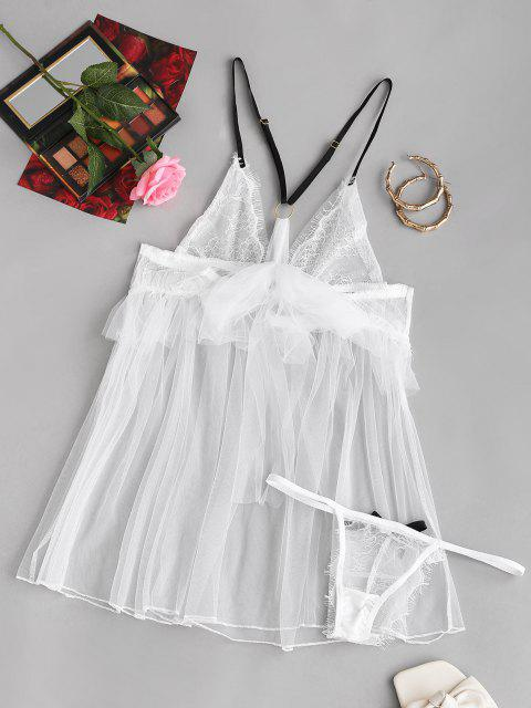 latest Bowknot Mesh Lace Cups Bridal Babydoll Set - WHITE ONE SIZE Mobile