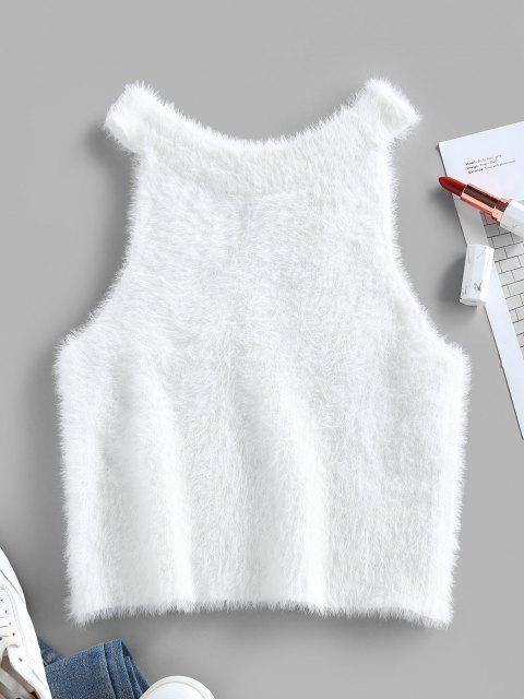 ZAFUL Unscharfe Crop Ärmelloser Pullover - Weiß S Mobile