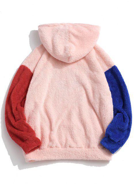ZAFUL Buchstabe Stickerei Kontrast Flauschiges Hoodie - Hell-Pink XL Mobile