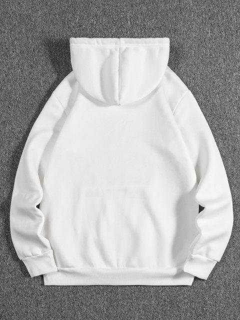 shop Kanji Print Oriental Fleece Hoodie - WHITE 2XL Mobile