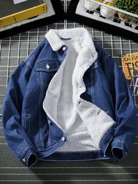 Veste Boutonnée en Fausse Laine en Jean - Bleu Foncé Toile de Jean XS Mobile