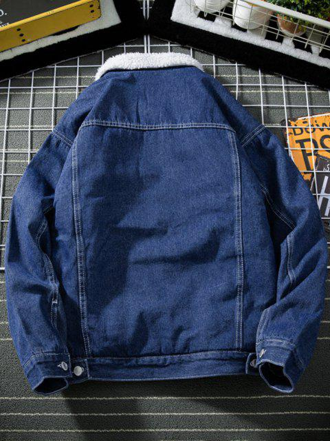 latest Button Up Faux Shearling Jean Jacket - DENIM DARK BLUE M Mobile