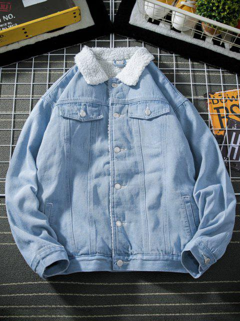 Button Up Faux Shearling Jean Jacket - أزرق فاتح XS Mobile