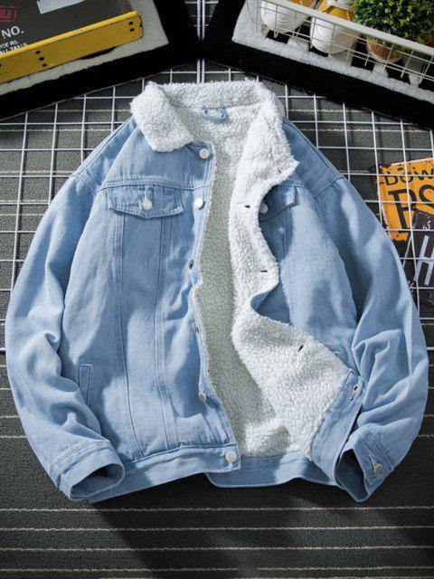 fancy Button Up Faux Shearling Jean Jacket - LIGHT BLUE XS Mobile