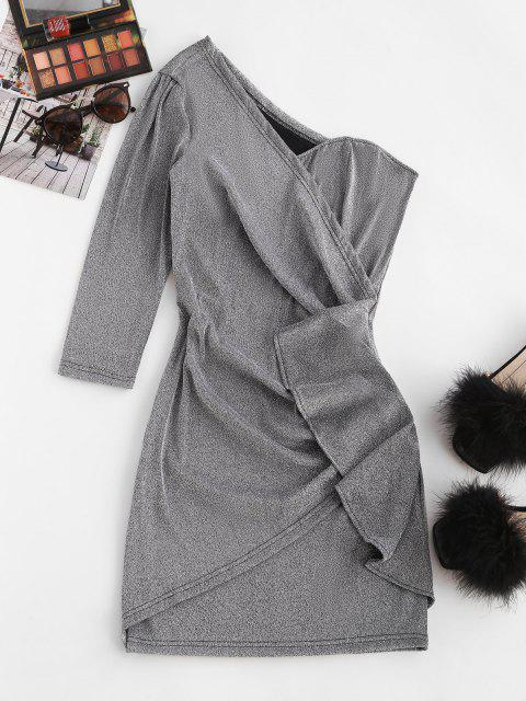 sale Metallic Thread Skew Neck Draped Mini Dress - LIGHT GRAY M Mobile