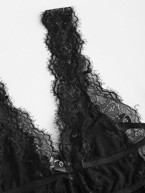 Spitze und Maschen Wegfliegen Babydoll Set - Schwarz Eine Größe Mobile