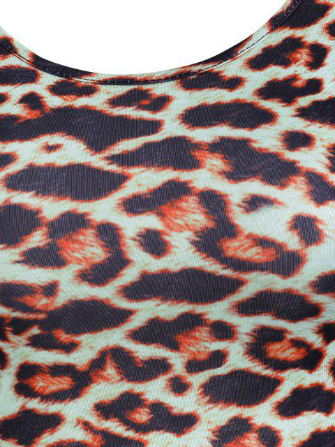 shops Leopard Backless Lace-up Slinky Dress - MULTI M Mobile