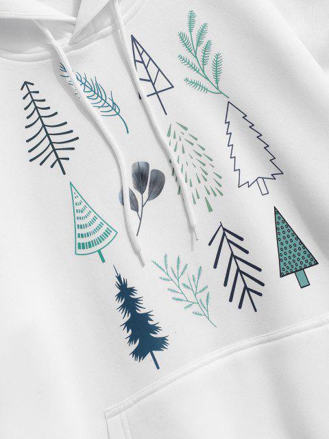 lady Christmas Tree Leaves Print Fleece Hoodie - WHITE S Mobile