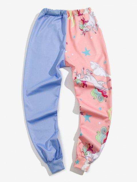 women Star Unicorn Print Contrast Sports Pants - LIGHT BLUE L Mobile