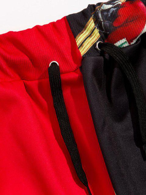 Weihnachten Santa Clausdruck Kontrast Sport Hosen - Rot XL Mobile