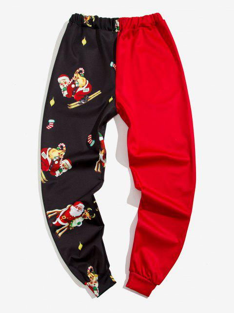 outfits Christmas Santa Claus Print Contrast Sports Pants - RED 2XL Mobile