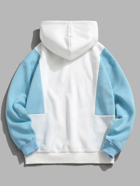 hot ZAFUL Contrast Double Pockets Fleece Hoodie - LIGHT BLUE L Mobile