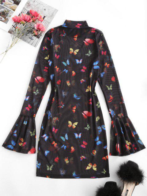 women Flare Sleeve Mesh Butterfly Print Bodycon Dress - BLACK M Mobile