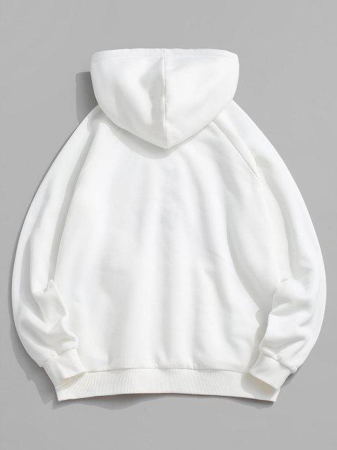 women's ZAFUL Hanzi Slogan Embroidered Fleece Oriental Hoodie - WHITE M Mobile
