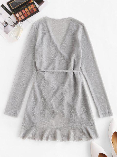 buy Metallic Thread Flounce Tie Wrap Dress - LIGHT GRAY L Mobile